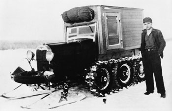 Snowmobile used by Dr. H.A. Hammon in Fort Vermilion area, Alberta, ca. 1930s. Source: Glenbow Museum