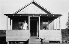 Dr. Mary Percy Jackson at provincial doctor's cottage, Notikewan, AB, ca. 1925. Source: Glenbow Museum