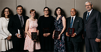 L to R: Dr. Alison Clarke, AMA President, 2018-19 with 2019 AMA Long-Service Award recipients Dr. Lloyd Maybaum, Dr. Kimberley Kelly, Dr. Linda Mrkonjic, Dr. Heidi Fell and Dr. Edward Aasman, and AMA Executive Director, Michael Gormley