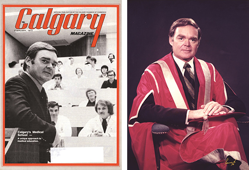 Left: Dr. Cochrane with the first University of Calgary Medical Class - Calgary Magazine, 1973. Right - Dr. Cochrane's University of Calgary presidential portrait