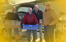 Dr. Allan Garbutt and friends collect food for the Crowsnest Pass food bank